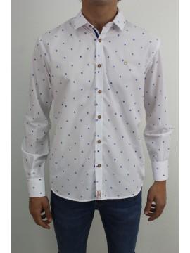 Camisa dibujos geometrico y detalles en azulón